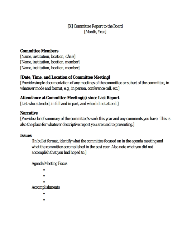Sample Committee Report Template 8 Free Documents Download in – A Report Template