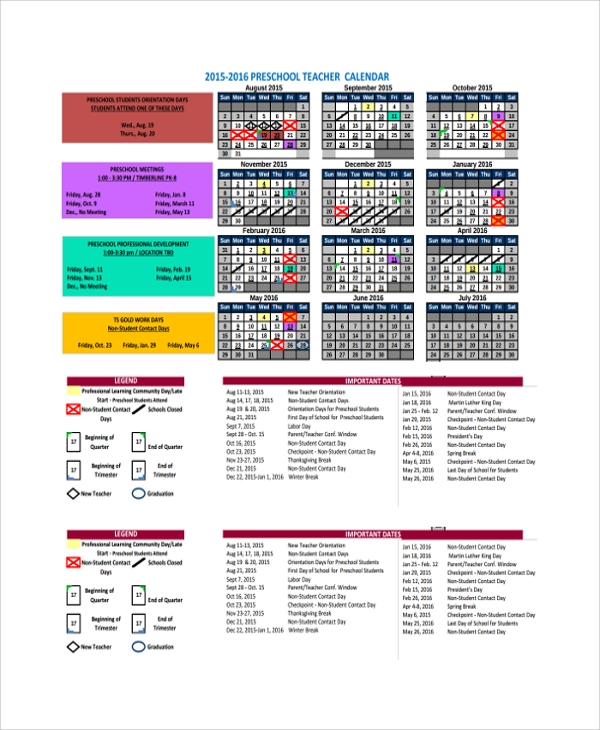 Sample Teacher Calendar Template - 9+ Free Documents Download In