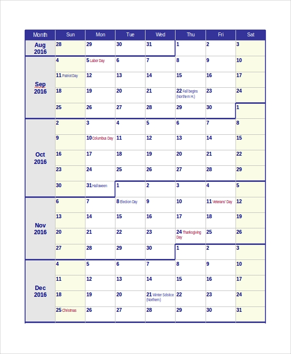 Sample Teacher Calendar Template   Free Documents Download In