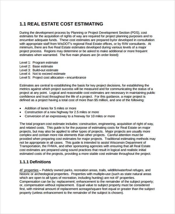 real estate estimates 7 cost estimate templates sample templates 29952