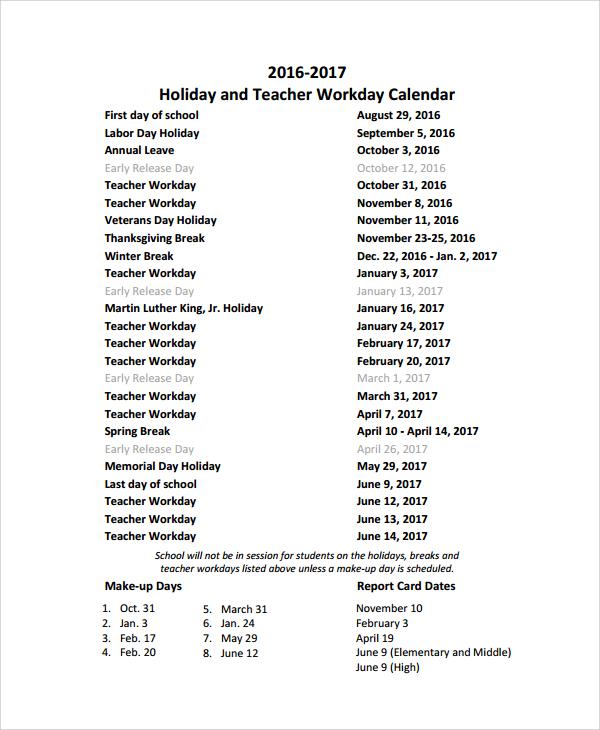 Sample Teacher Calendar Template - 9+ Free Documents Download in PDF ...