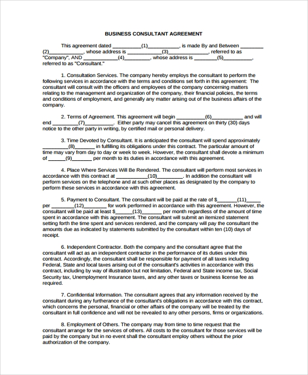 Sample Business Consulting Agreement Template 7 Free Documents – Business Consulting Agreement Template