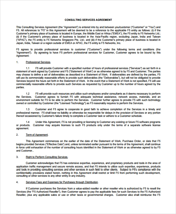 8 business consulting agreement templates sample templates for Consulting contracts templates