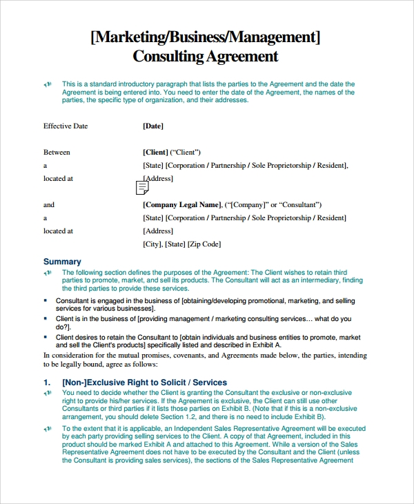Sample Business Consulting Agreement Template   Free Documents