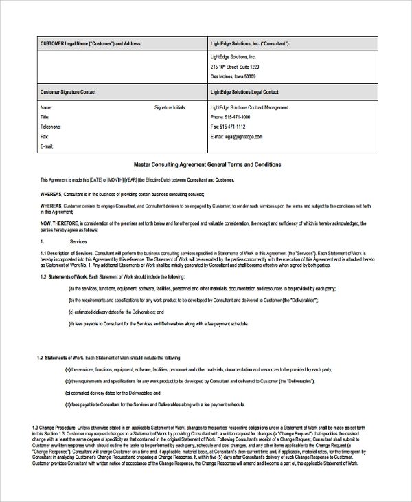 Sample Business Consulting Agreement Template - 7+ Free Documents