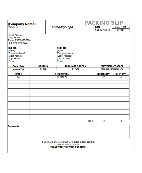 sample shipping slip template