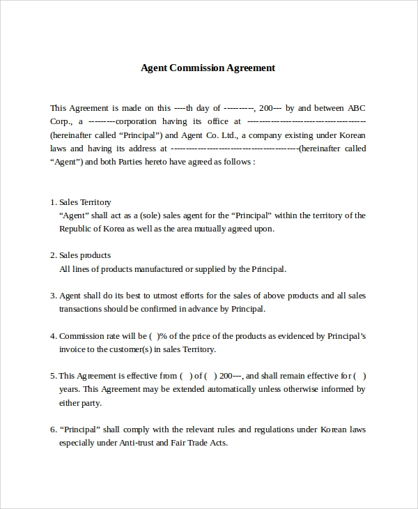 Sample Commission Sales Agreement Template 8 Free Documents – Free Sales Contract Template