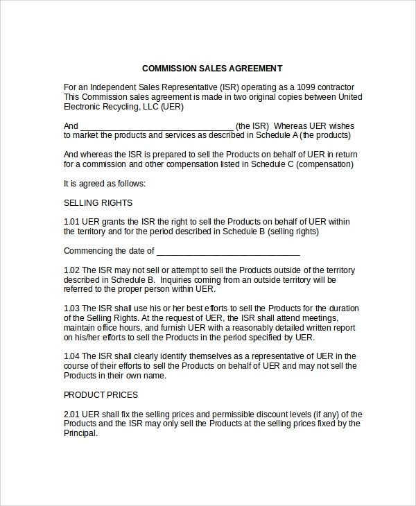 commission sales agreement contract