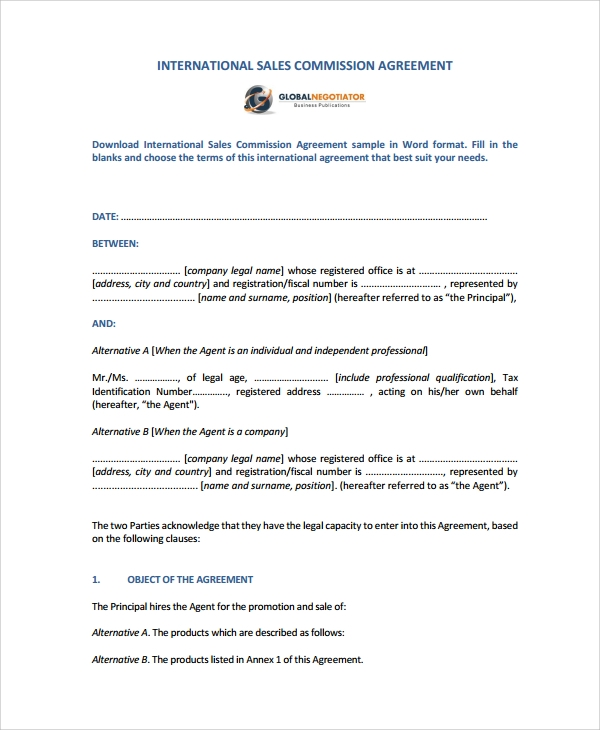 9 commission sales agreement templates sample templates for International trade contract template
