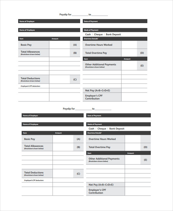 Lovely Free Wage Slip Template Intended Pay Slip Templates