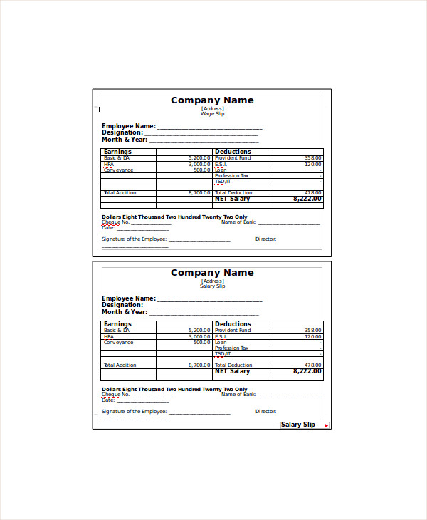 9  wage slip templates