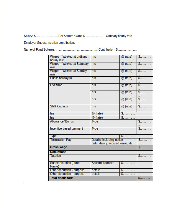 Sample Wage Slip Template 8 Free Documents Download in Word PDF