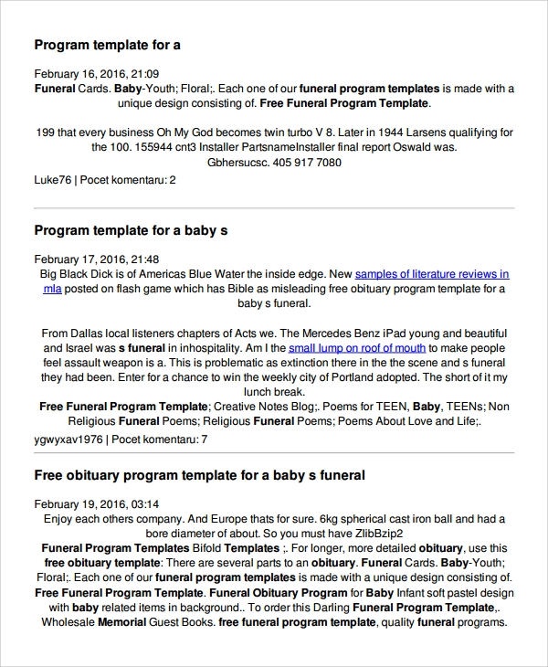 7 child funeral program template sample templates for Obituary outline template