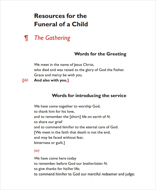 Sample Child Funeral Program Template   Free Documents Download