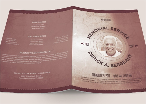 funeral memorial program template for dad