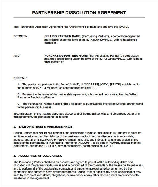 Sample Business Dissolution Agreement Template   Free Documents