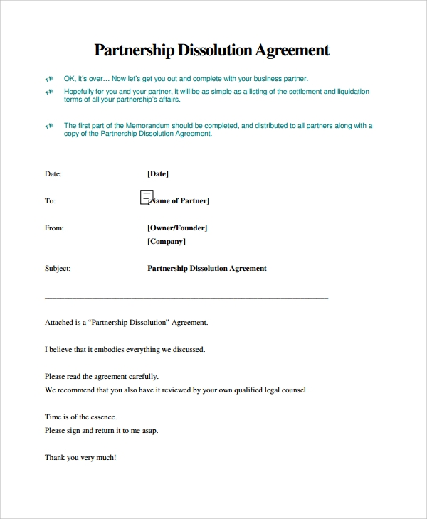 Sample Business Dissolution Agreement Template 6 Free