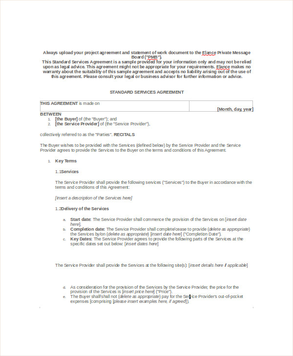 Sample Business Service Agreement   Free Documents Download In