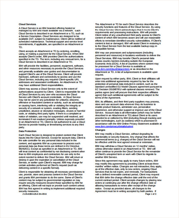 business cloud service agreement