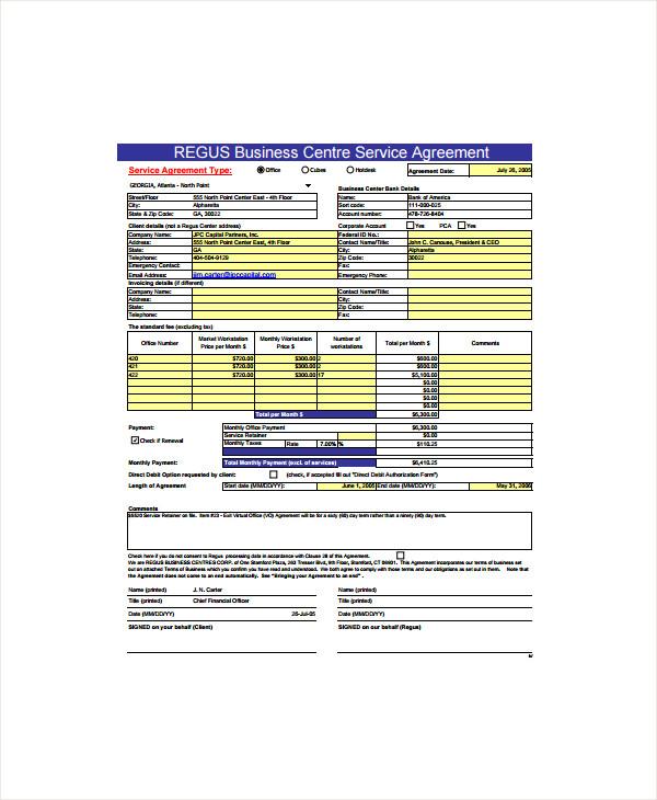 business centre service agreement