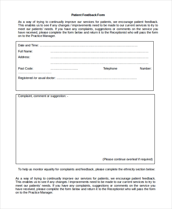 Sample Patient Feedback Form - 9+ Free Documents Download In Word, Pdf