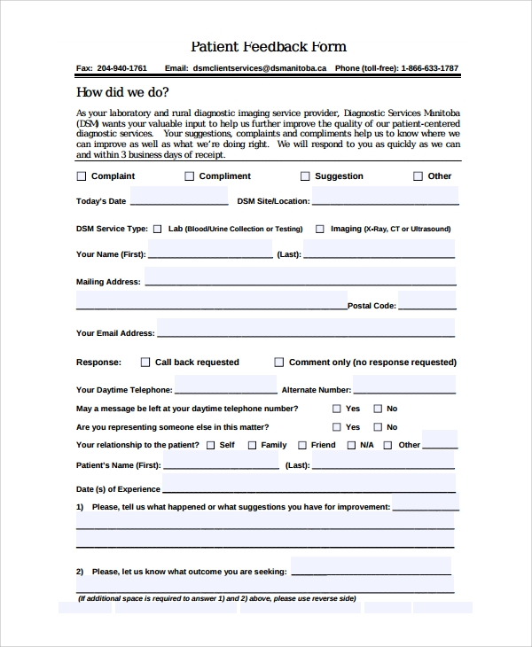 Sample Patient Feedback Form   Free Documents Download In Word Pdf