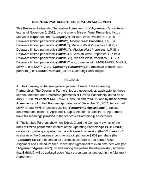 Sample Business Separation Agreement Template   Free Documents