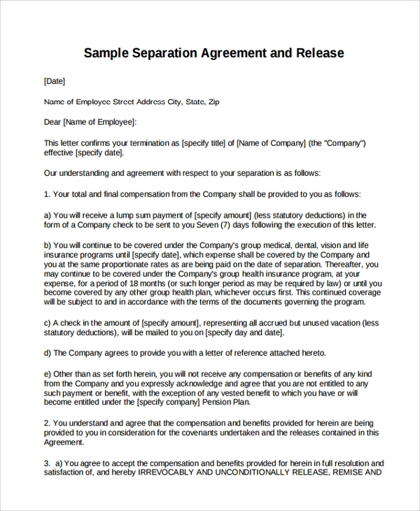seperation agreement template - 9 business separation agreement templates sample templates