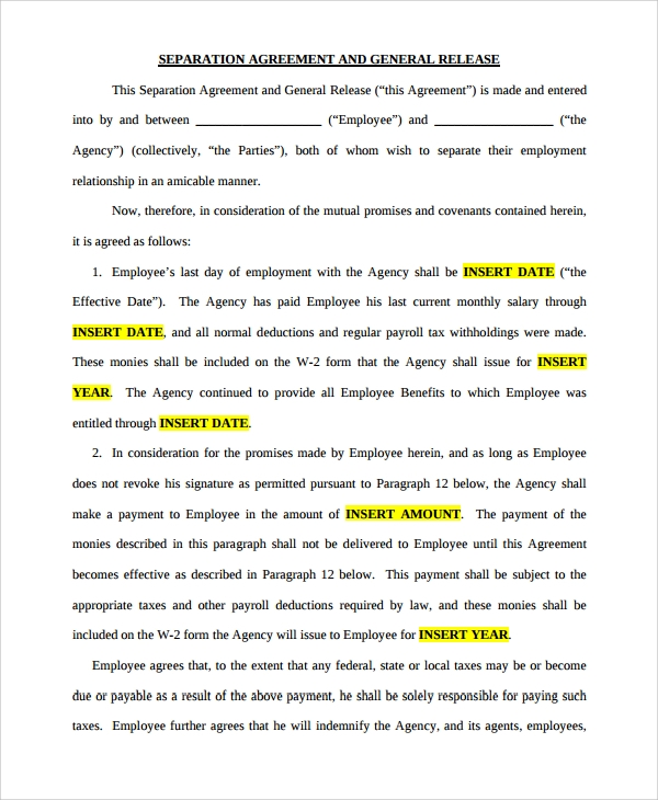Sample Business Separation Agreement Template - 9+ Free Documents ...