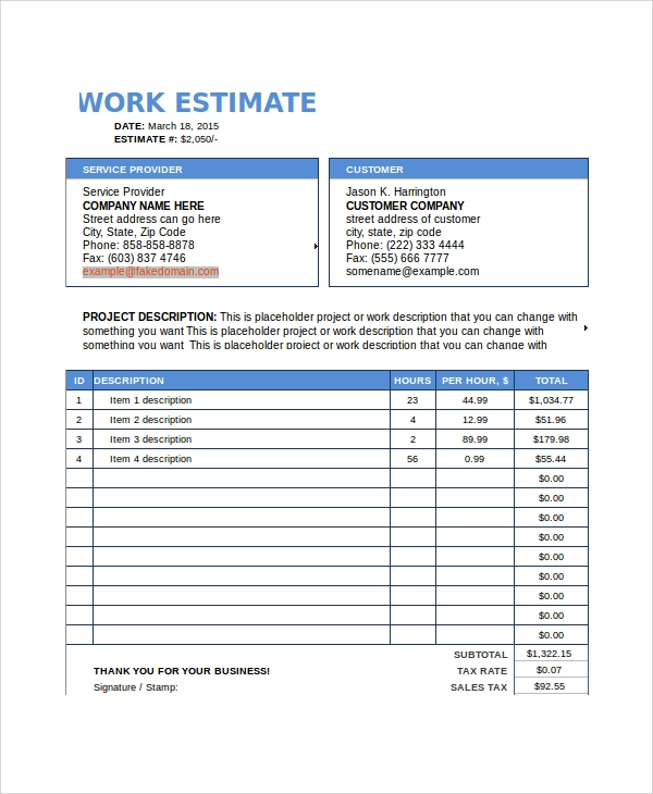 Sample Work Estimate Templates 7 Free Documents