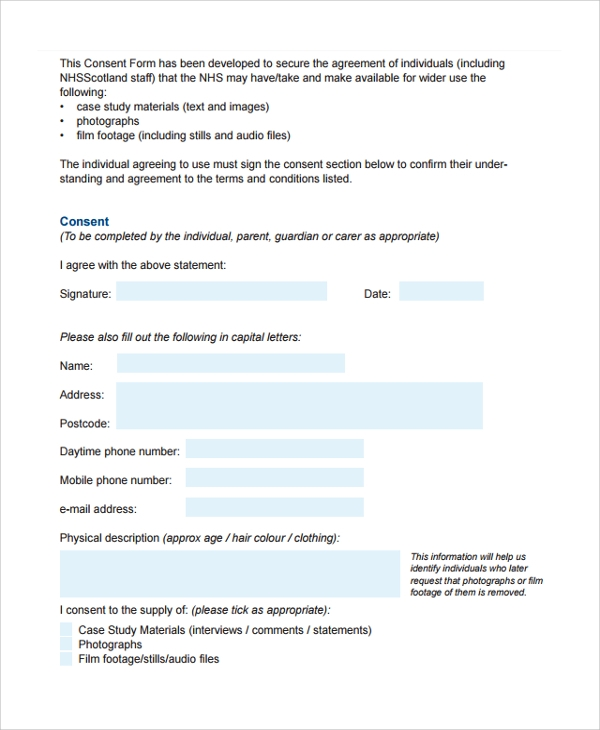 Sample Video Consent Form   Free Documents Download In Pdf Word