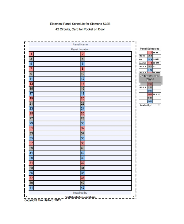 sample panel schedule templates