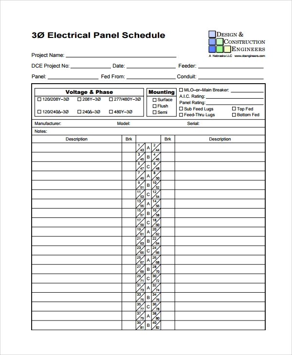 electrical panel schedule form