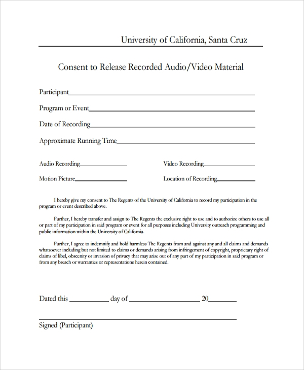 video consent release form