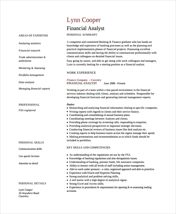 resume for finance analyst