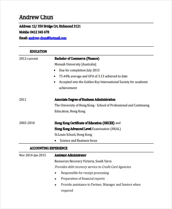 finance executive resume