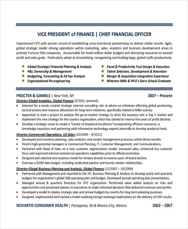 sample finance resume template