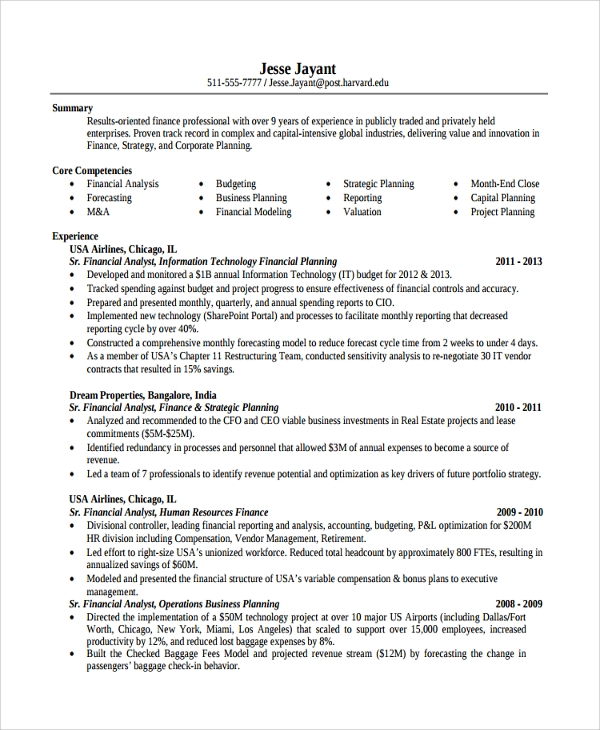 Sample Finance Resume Template - 7+ Free Documents ...