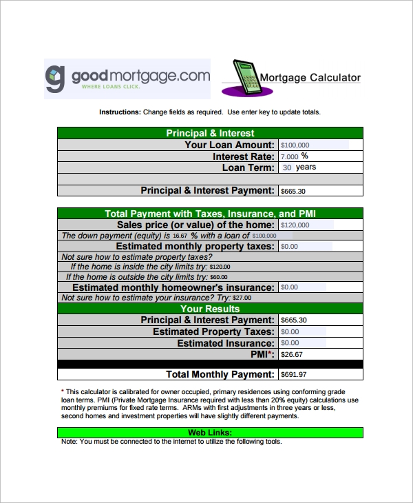 9  mortgage payment calculator templates