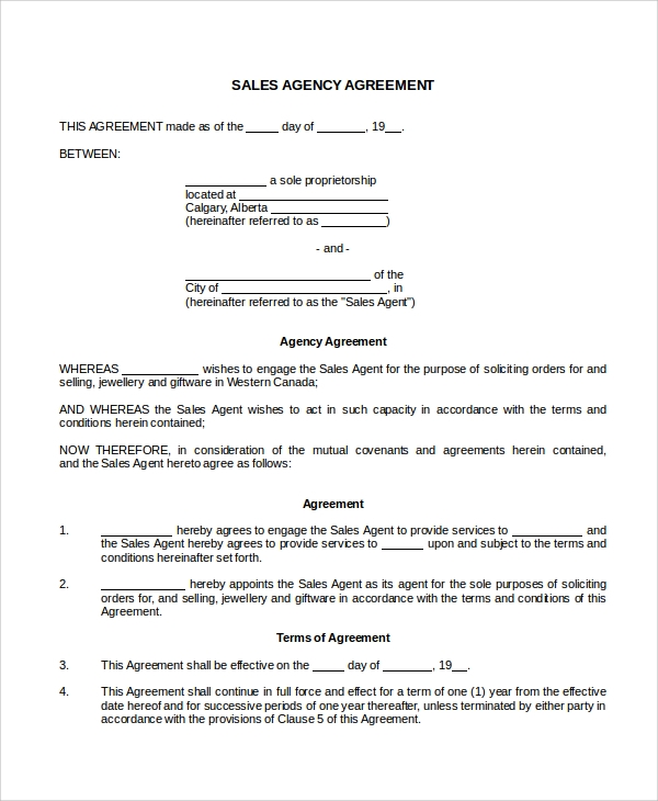 Sample Sales Agency Agreement Templates   Free Documents