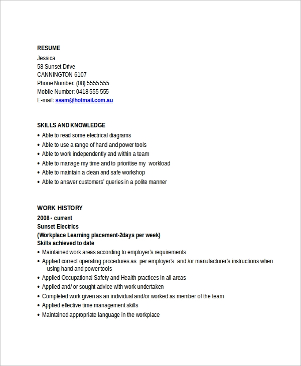 Sample Electrician Resume Template   Free Documents Download In