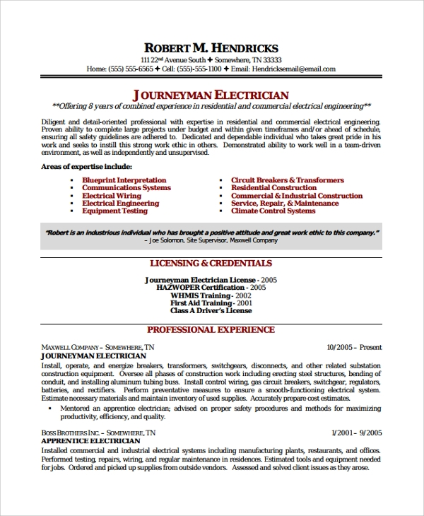 electrician journeyman resume
