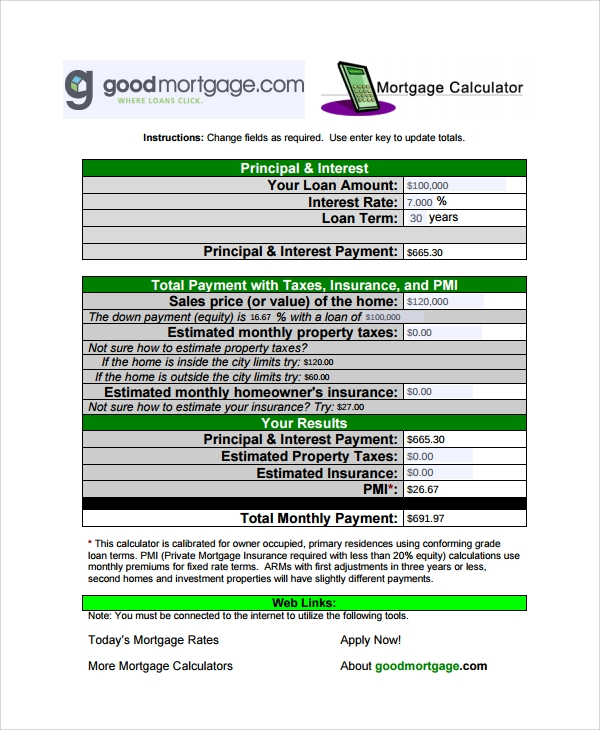 Sample Mortage Loan Calculator Templates - 6+ Free Documents