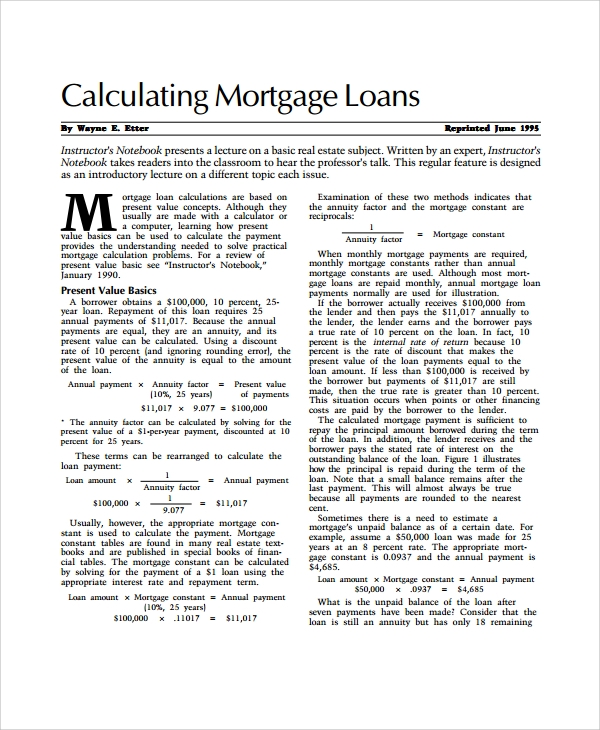 Sample Mortage Loan Calculator Templates   Free Documents