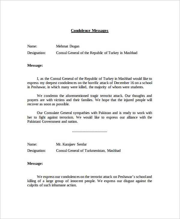 Condolence Letter Sample Condolence Message Condolence Messages – Sample Condolence Letters