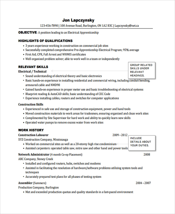 sample electrician resume template 7 free documents