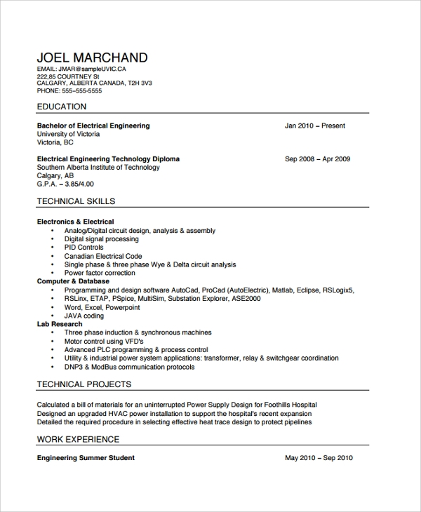 sample electrician resume template