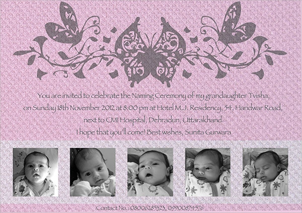 beautiful naming ceremony invitation template