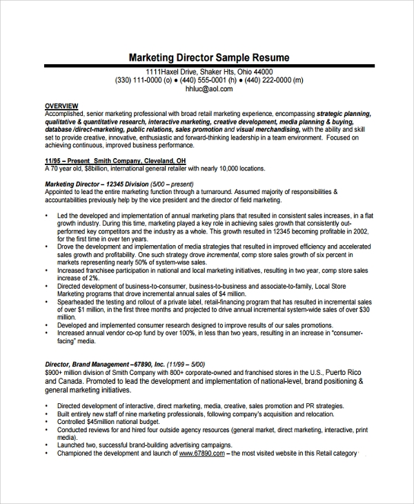 director of operations job resume