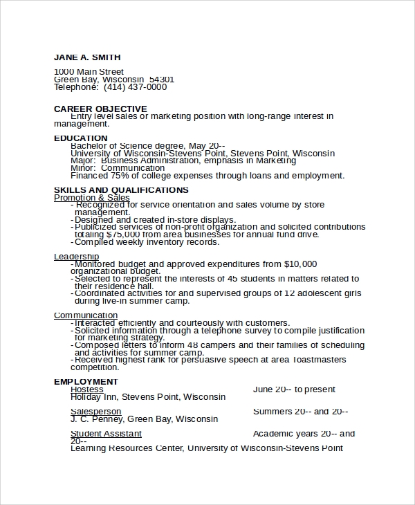 Sample Camp Counselor Resume Templates   Free Documents